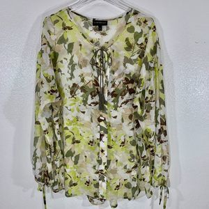 LANE BRYANT Printed Leaf Peasant Blouse SZ 14/16